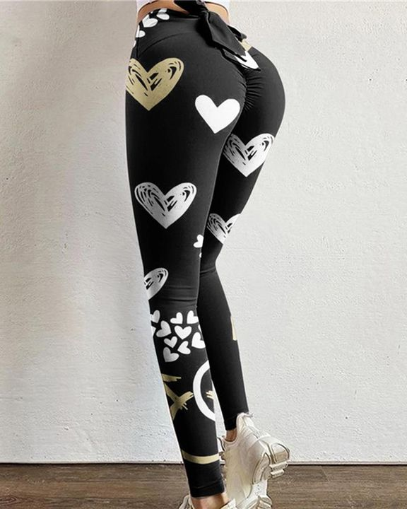 Allover Print Cutout Bow Back Scrunch Butt Sports Leggings  gallery 1