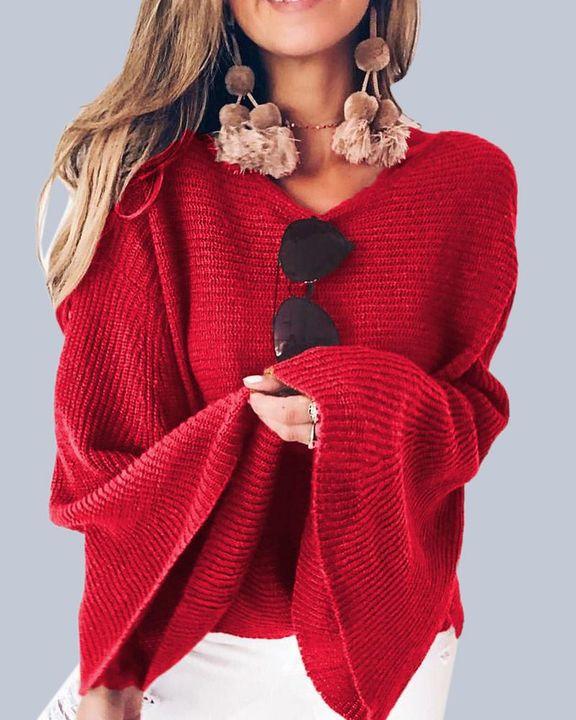 Solid Bell Sleeve Scoop Neck Sweater gallery 6