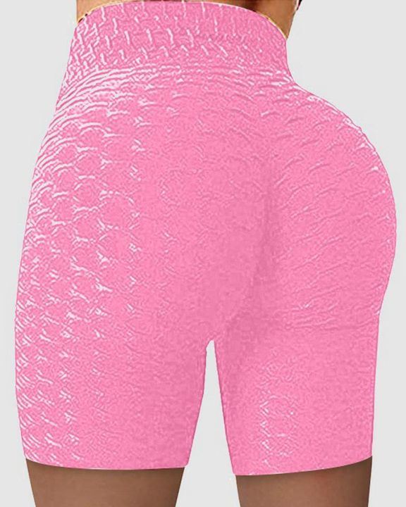 Solid Textured Wide Waistband Butt Lifting Sports Shorts gallery 2