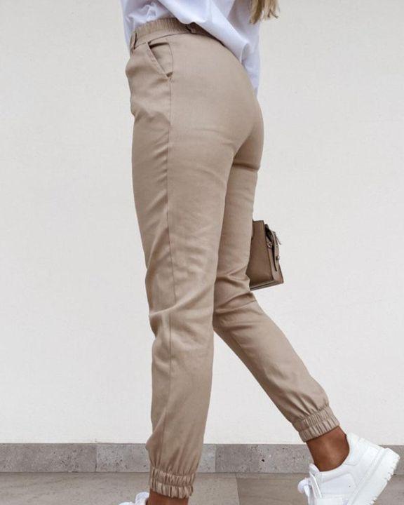 Solid Slant Pocket Elastic Hem Crop Pants gallery 4