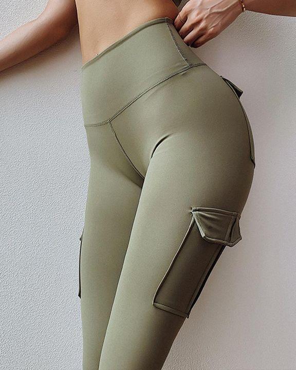 Flap Pocket Butt Lifting Wide Waist Band Sports Leggings gallery 6