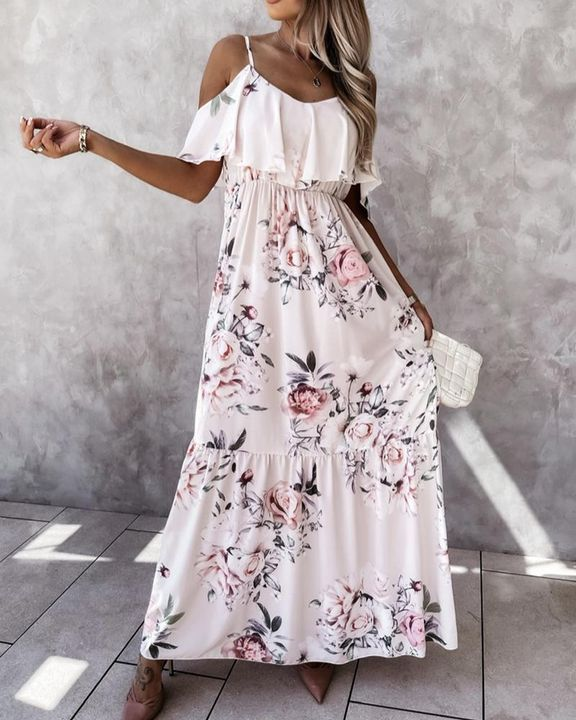 Floral Print Ruffle Trim Backless Cold Shoulder Maxi Dress gallery 2