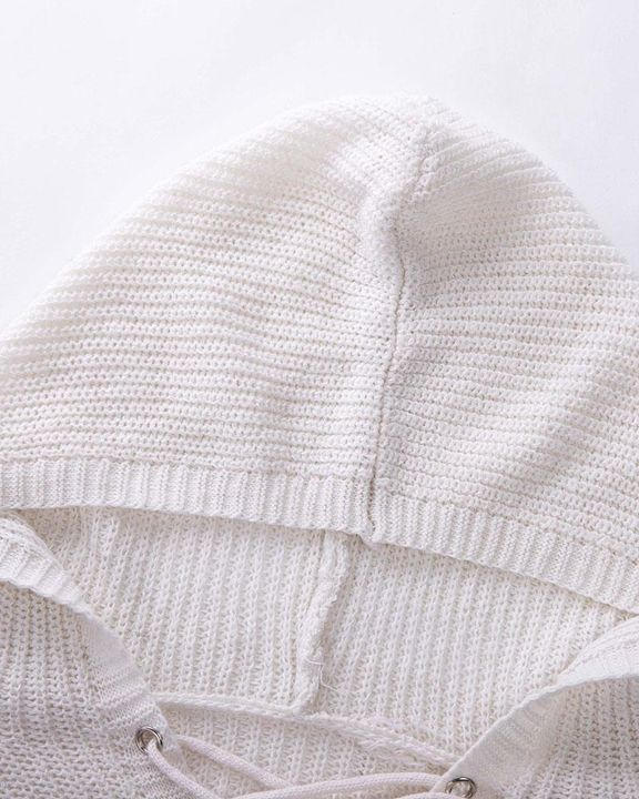 Eyelet Lace Up Ribbed Hooded Sweater gallery 9
