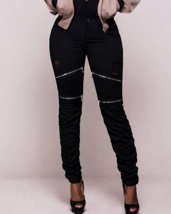 Ripped Zipper Front Stitch Trim Pants gallery 1