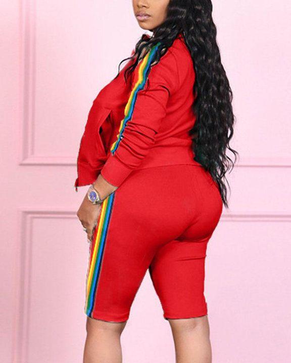 Rainbow Stripe Side Zip Up Collar Jacket Top & Shorts Set gallery 8