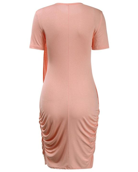 Solid Ruched Wrap Asymmetrical Mini Dress gallery 5