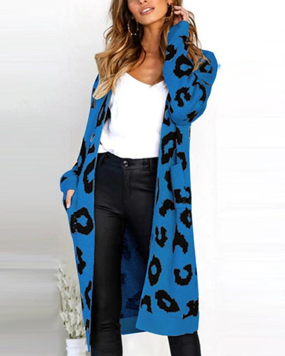 Leopard Print Patch Pocket Open Front Cardigan gallery 6
