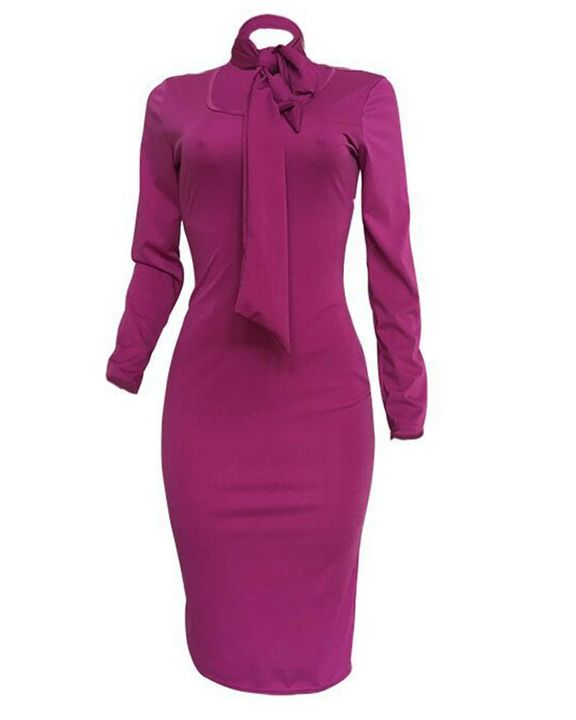 Solid Cut Out Tie Front Long Sleeve Midi Dress gallery 3