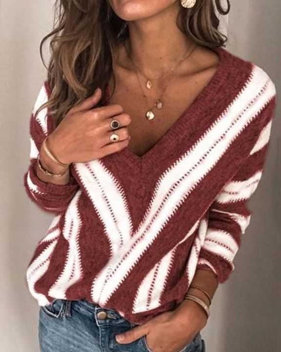 Colorblock Drop Shoulder Ribbed Knit Sweater gallery 2