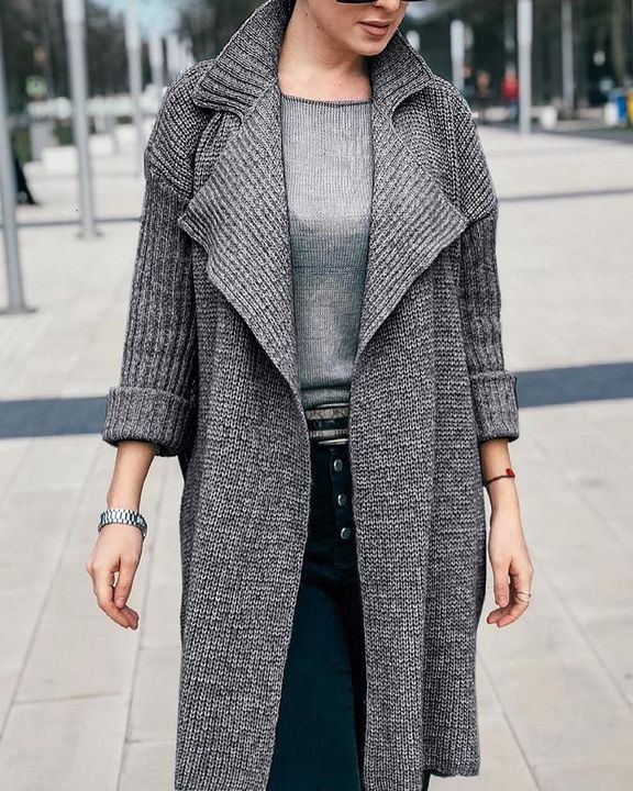 Solid Rib-Knit Open Front Lapel Neck Cardigan gallery 3
