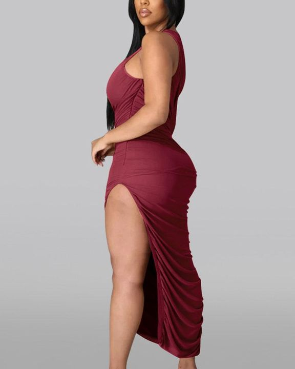 Solid One Shoulder Split Thigh Ruched Dress gallery 7