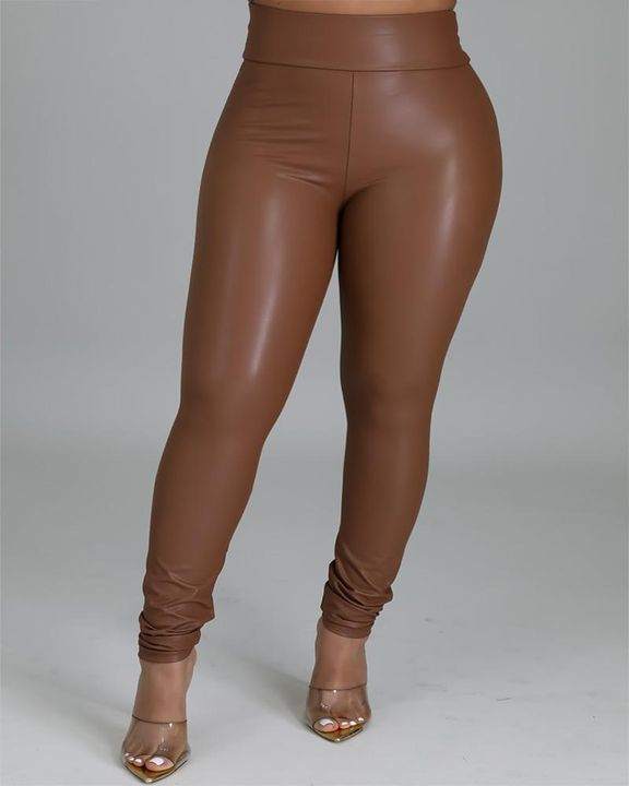 High Waist PU Skinny Pants gallery 5