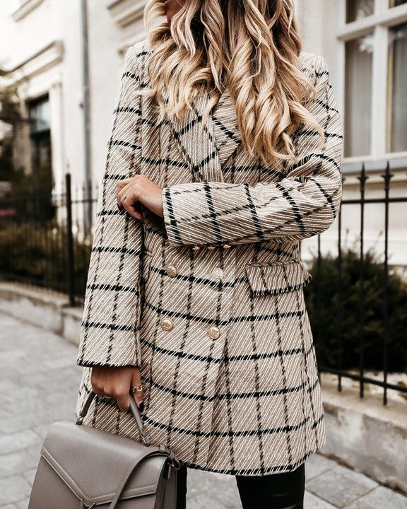Plaid Double Breasted Lapel Neck Coat gallery 4