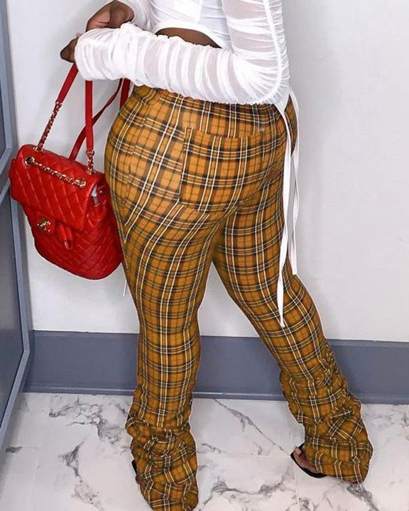 Plaid Print Pocket Detail High Waist Stacked Pants gallery 3