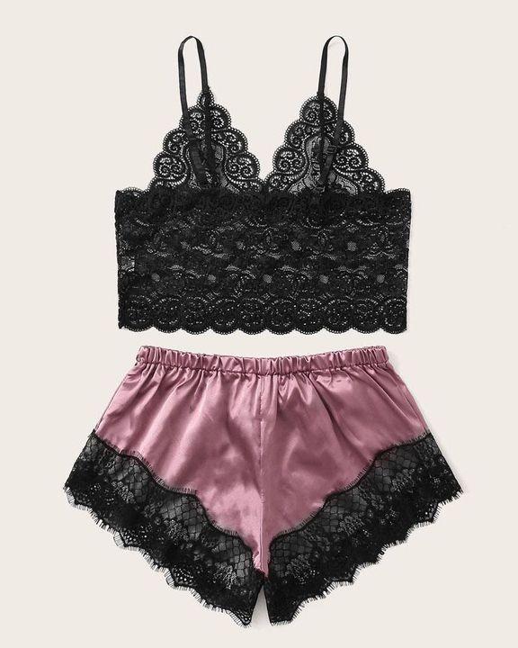 Satin Floral Lace Drawstring Bra & Panty Lounge Set gallery 2