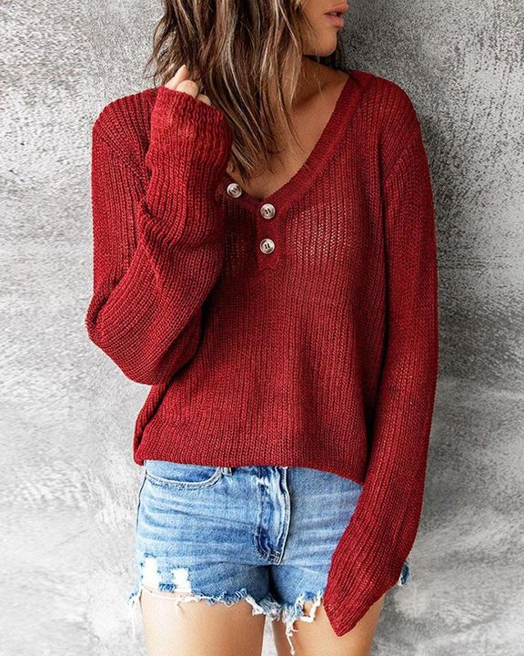 Chunky Knit Button Decor Sweater gallery 3
