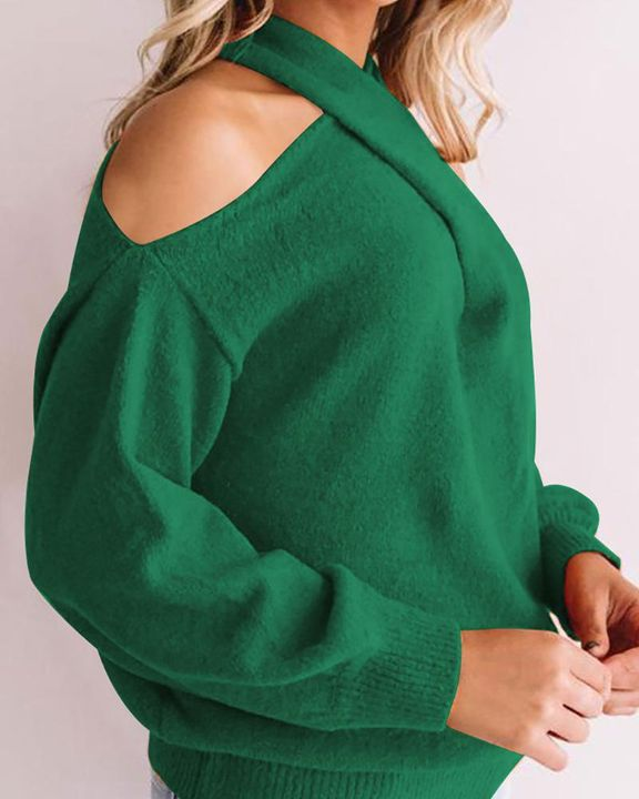 Solid Cold Shoulder Rib Knit Sweater gallery 9