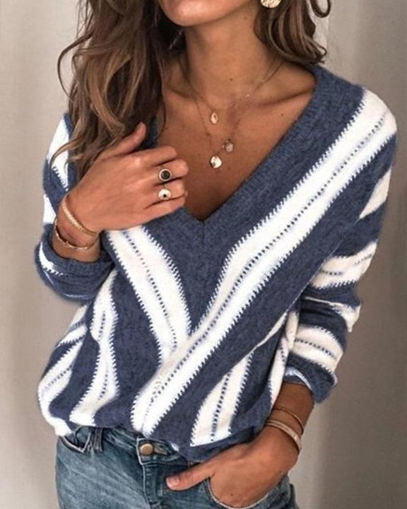 Colorblock Drop Shoulder Ribbed Knit Sweater gallery 3