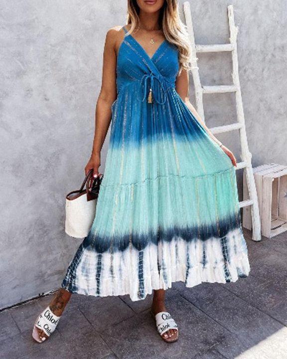 Tie Dye Metallic Tassel Knot Frill Trim Cami Long Dress gallery 2