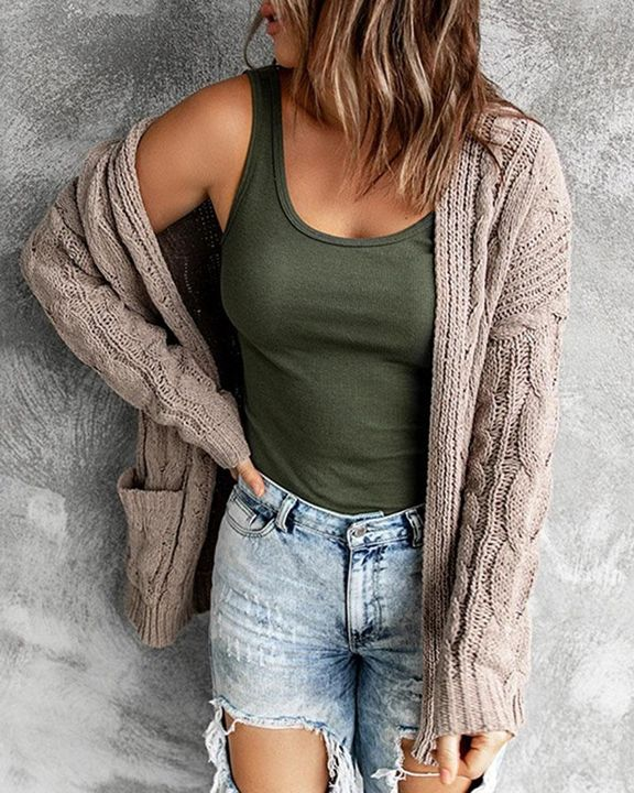 Solid Dual Pocket Cable Knit Cardigan gallery 4