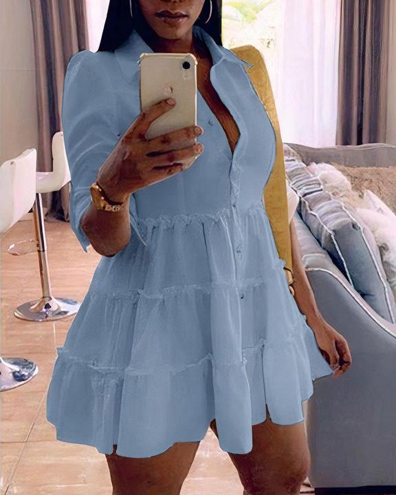 Solid Button Detail Ruffle Hem Mini Dress gallery 2