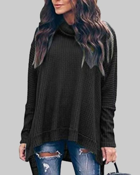 Solid Split Hem High Neck Sweater gallery 2