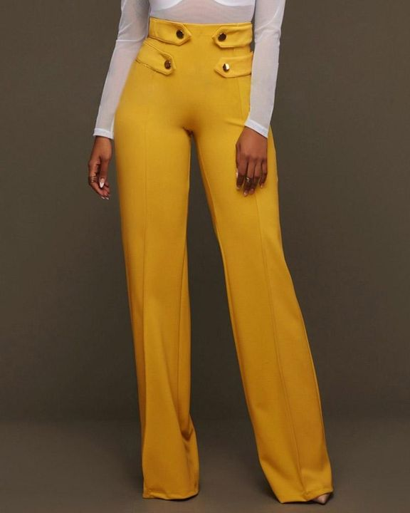 Solid Studded Button Decor Wide Leg Pants gallery 1
