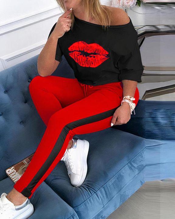 Lip Print Two Tone Drawstring Waist Long Sleeve T-Shirt & Pants Set gallery 4