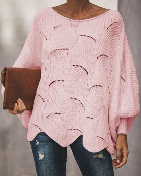 Open Knit Lantern Sleeve Scallop Hem Oversized Sweater gallery 4