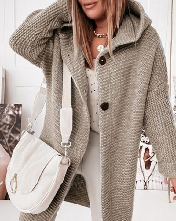 Ribbed Knit Button Up Open Front Hooded Cardigan gallery 1