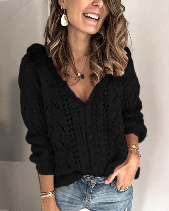 Pointelle Knit Button Up Drop Shoulder Sweater gallery 2