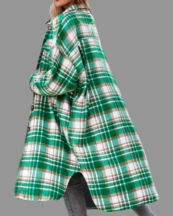 Plaid Button Up Flap Pocket Split Hem Coat gallery 5