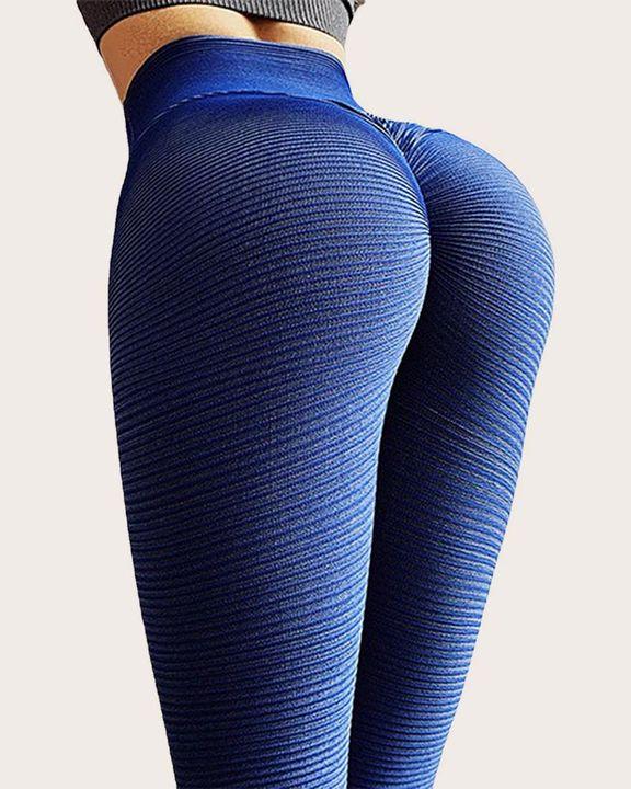 Pinstriped Ribbed Scrunch Butt High Waist Sports Leggings gallery 5