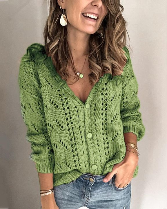 Pointelle Knit Button Up Drop Shoulder Sweater gallery 1