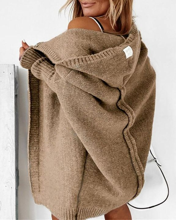 Solid Leg-of-mutton Sleeve Hooded Cardigan gallery 2