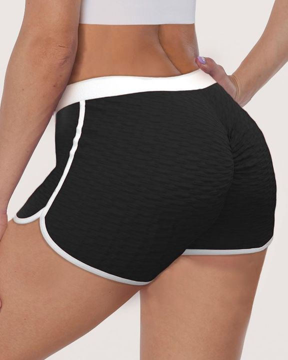 Contrast Binding Textured Ruched Sports Shorts gallery 4