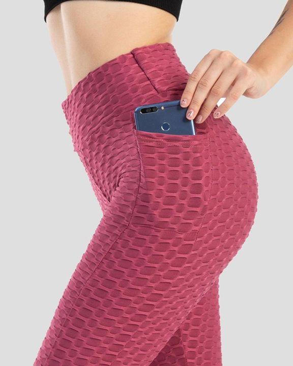 Solid Textured Pocket Detail Scrunch Butt Sports Leggings gallery 6