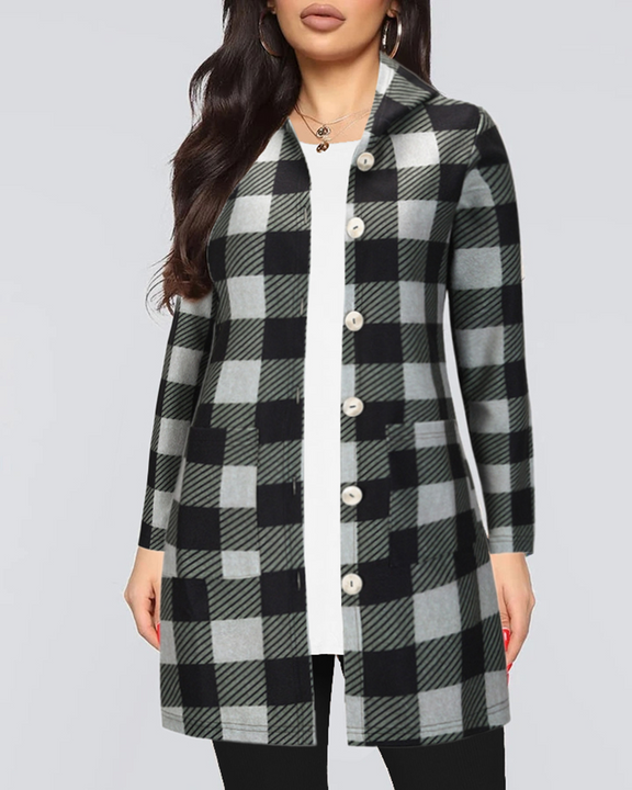 Gingham Button Through Pocket Front Hooded Coat gallery 3