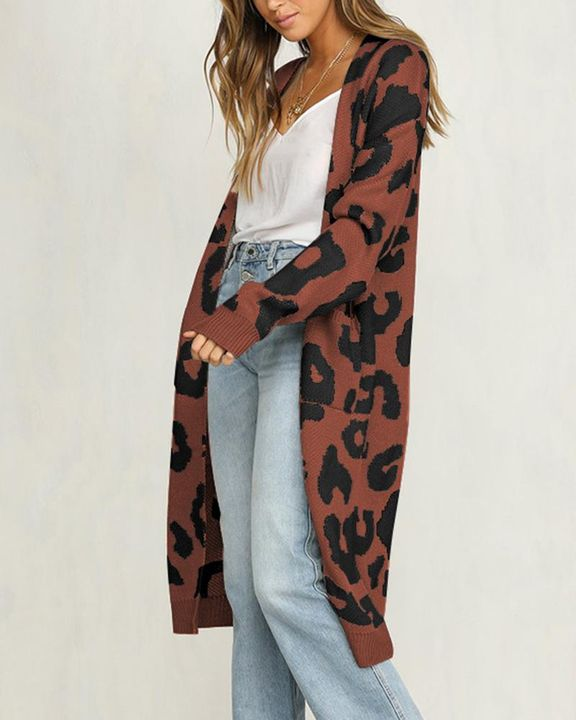 Leopard Print Patch Pocket Open Front Cardigan gallery 10