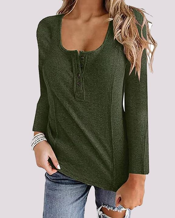Ribbed Button Front Stitch Trim Sweater gallery 3
