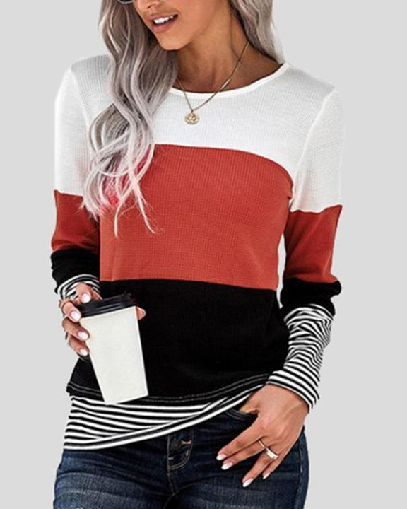 Colorblock Striped Print Round Neck Sweater gallery 3