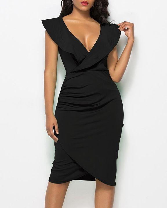 Solid Ruffle Trim Ruched Wrap Asymmetrical Hem Knee Length Dress gallery 2