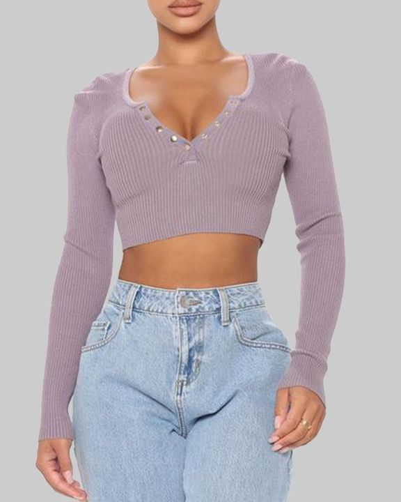 Ribbed Knit Button Decor Crop Sweater gallery 2