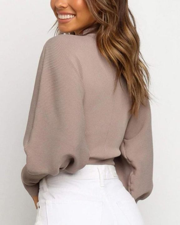 Solid Ribbed Leg-of-mutton Sleeve Sweater gallery 9