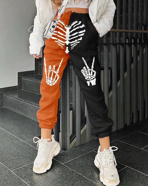 Colorblock & Halloween Skull Pattern Dual Pocket Joggers gallery 4