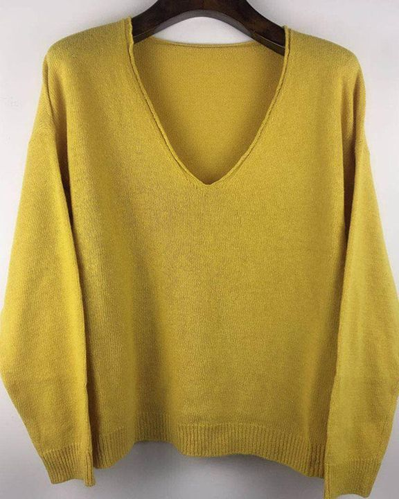 Solid Rib-knit Drop Shoulder Sweater gallery 8