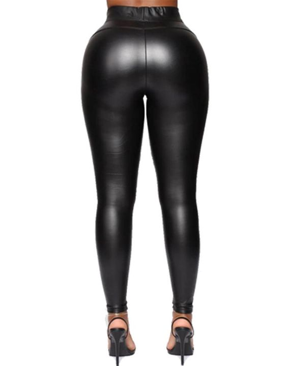 Solid PU Leather High Waist Skinny Pants gallery 3