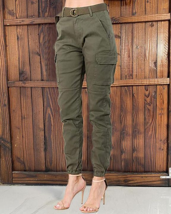 Solid Pocket Detail Belted High Waist Pants gallery 1