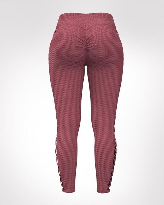 Lace Up Side Textured Ruched Sports Leggings gallery 5