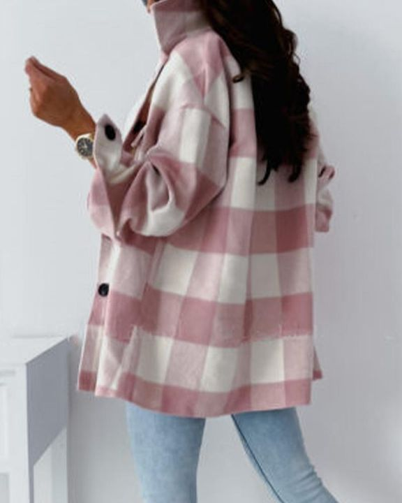 Gingham Flap Pocket Button Up Coat gallery 4